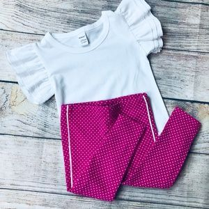 Like new Tea Collection pink leggings + ruffle sle